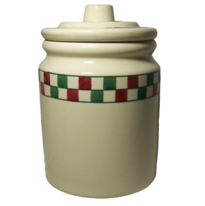 Hartstone-Farmhouse-Cookie-Jar-Canister-Red-Green-Check-Checkerboard-Checkmates