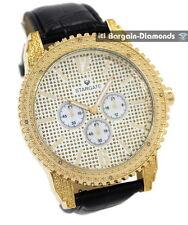 mens diamond big gold tone ice time business clubbing watch 2 leather warranty