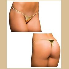 """LOOK""  Ladies Gold Metallic Micro Thong  One size Polycotton Mix UK STOCK"