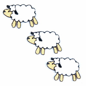 3 sheep embroidered motif iron on or sew on  patch appliqué embroidery