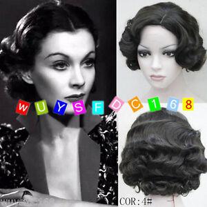 2018 New Retro Wave Short Black Wig Vintage Finger Waves Synthetic Hair Wig Ebay
