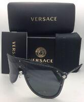Versace Sunglasses Ve 2180 1000/87 125 Silver & Black Shield Frames W/ Grey