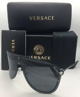 Versace Sunglasses Ve 2180 1000/87 125 Silver & Black Shield Frames W/ Grey