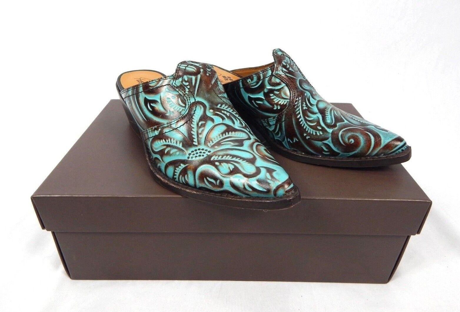 Patricia Nash Turquoise Floral Tooled Battista Slip-on Mules, Size 6 M