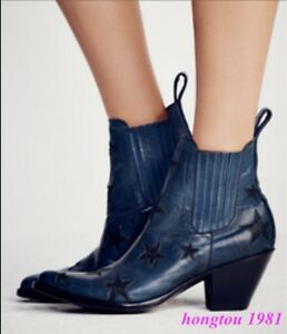 45d7eb148503 Details about Comboy Womens Western Real Cow Leather Cuban Heels Ankle Boots  Knight Shoes NEW