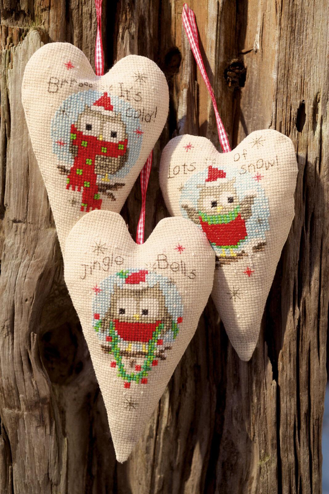 Vervaco 0147404 Herzen dekorativ Eulen Weihnachten Kreuzstich-Zählmuster