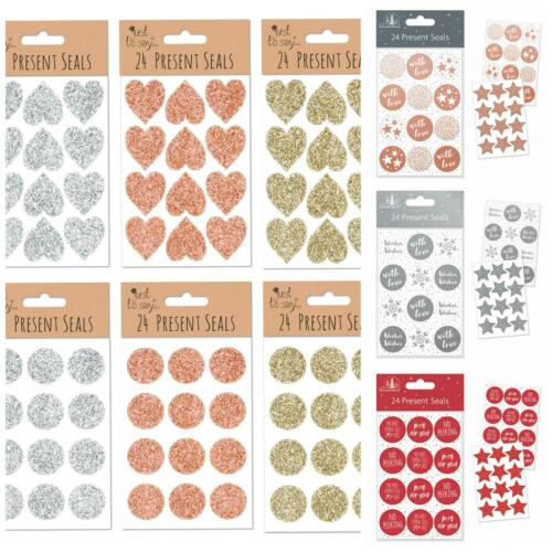 24PK CHRISTMAS SELF ADHESIVE  PRESENT SEALS GIFT TAPE RED SILVER ROSE GOLD