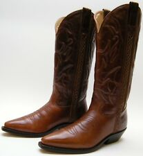 WOMENS COLE HAAN COUNTRY F2025 BROWN LEATHER COWBOY WESTERN BOOTS SZ 7.5~1/2 AA