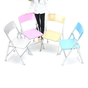 1/6 Dollhouse Miniature Furniture Colorful Folding Chair Doll House Accessor Pw