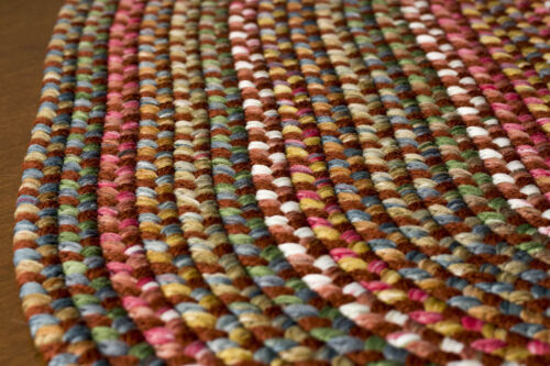 Super Area Rugs Braided Rug Country Cottage Farmhouse Decor in red yellow blue