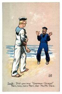 Antique-WW1-military-printed-cartoon-postcard-Jack-did-you-say-German-Ocean-Nein