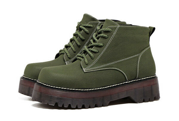 Stivali Stivali Stivali stivaletti eleganti bassi  5 verde bianco anfibi pelle sintetica CW771 4c1674