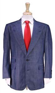 WILLIAM-K-Bespoke-Iridescent-Blue-Peak-Lapel-2-Btn-Cotton-Suit-40R