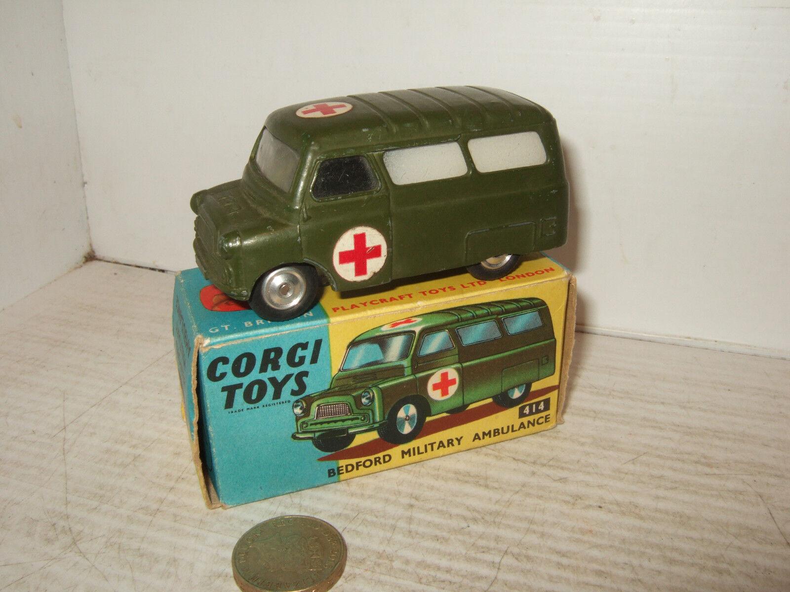 Rara De Colección Corgi Toys 414 Bedford Militar Ambulancia & Caja Original