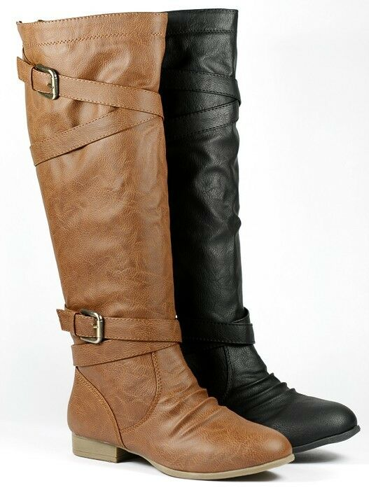 Brown w Buckle Riding Faux Leather Back Zipper Knee High Boot Top Moda Coco-61