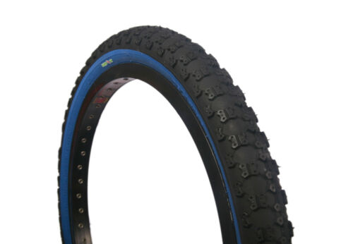 1 of COLOURED BMX TYRE TIRE BLACK BLUE WALL FOLDABLE 20 X 2.125 S101