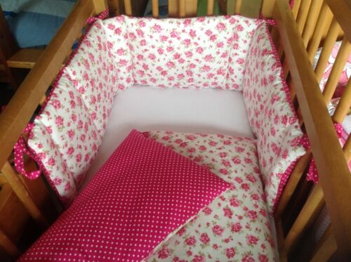 Cushi cots girls swing crib bumper and duvet set vintage rose and cerise pink