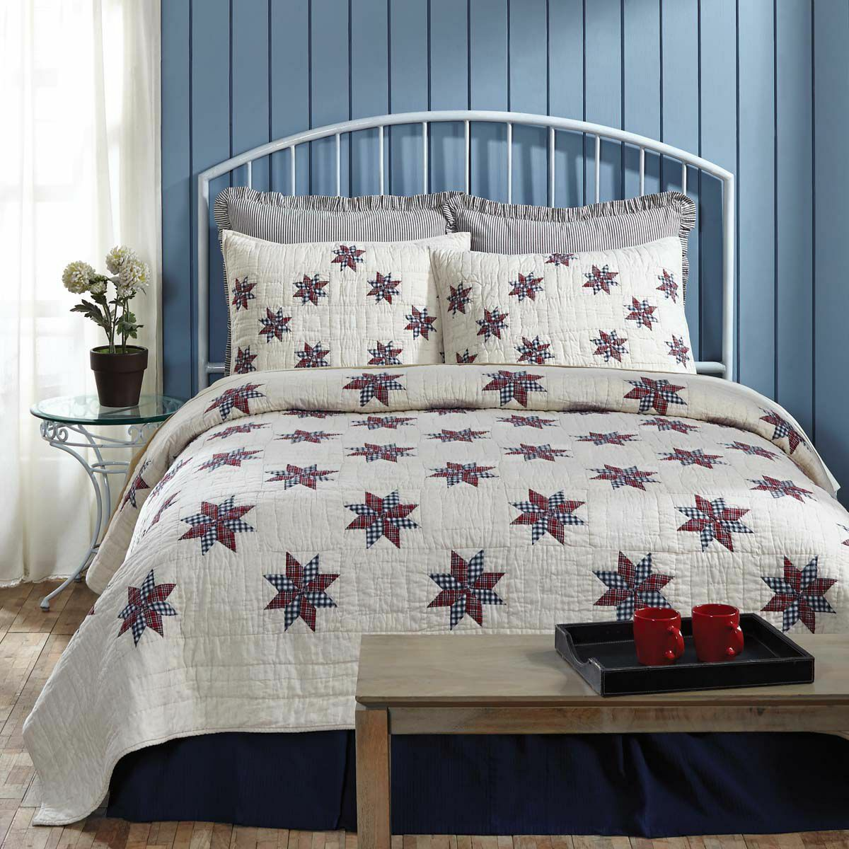 LINCOLN STAR 3pc Full Queen QUILT   AMERICANA COUNTRY 8 POINT rosso NAVY PLAID