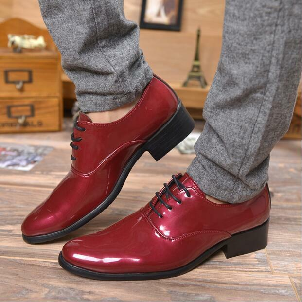 British Mens Dress Formal Lace Up Party shoes Wedding Patent Leather Oxfords V51