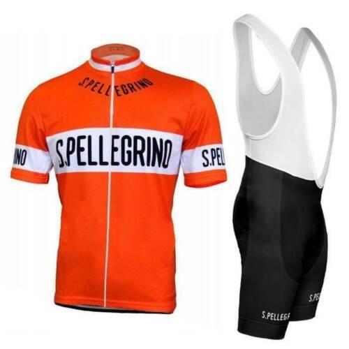 Retro Cycling Jersey Suit 1976 San Pellegrino Gel Bib Pant Bike Racing Short Kit