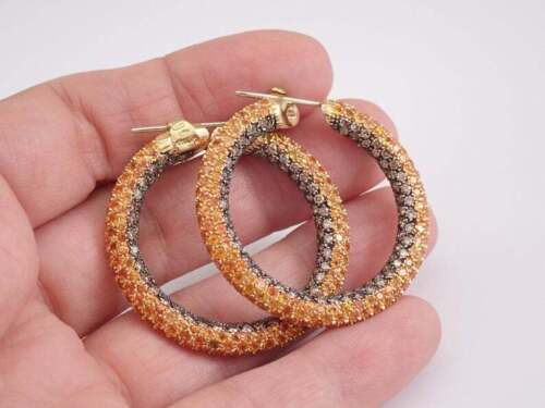 Details about  /3.8 ct Round Chocolate Diamond and Orange Sapphire Women/'s Classic Hoop Earrings