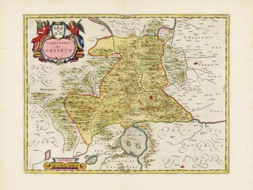 1655 Old Vintage Orvieto Region Italy decorative map Blaeu ca