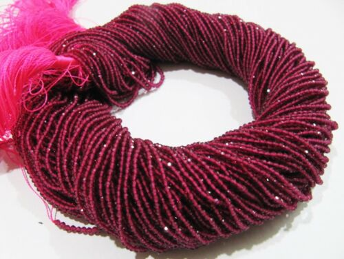 """AAA Quality Natural Ruby Lab created Size 2mm Round Faceted Beads Strand 15/"""" ."""