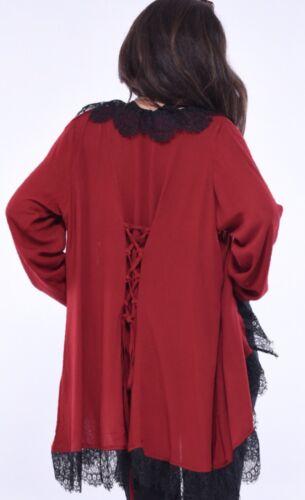 M Boho Gypsy L XL 1x noire froissée Lagenlook en Veste dentelle xpwnR0IaBq