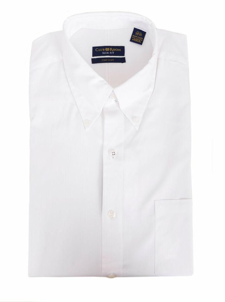 Diligent Club Room Slim Fit Solide Blanc Col Bouton Entretien Facile Robe Coton Chemise Douceur AgréAble