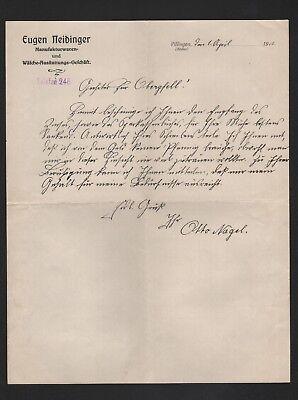 Brief 1912 Eugen Neidinger Manufakturwaren Wäsche-ausstattungs-gesch Villingen