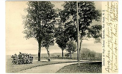 Red Hook NY - SECTION OF HIGH SCHOOL GROUNDS - Postcard