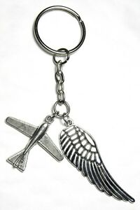 Pilot-Gift-Key-Ring-Aeroplane-amp-Angel-Wing-Plane-Keyring-Souvenir