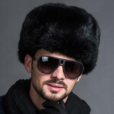 Hot Men's Ushanka Winter Raccoon Fur&Lamb Leather Russian Cossack Trapper Hats