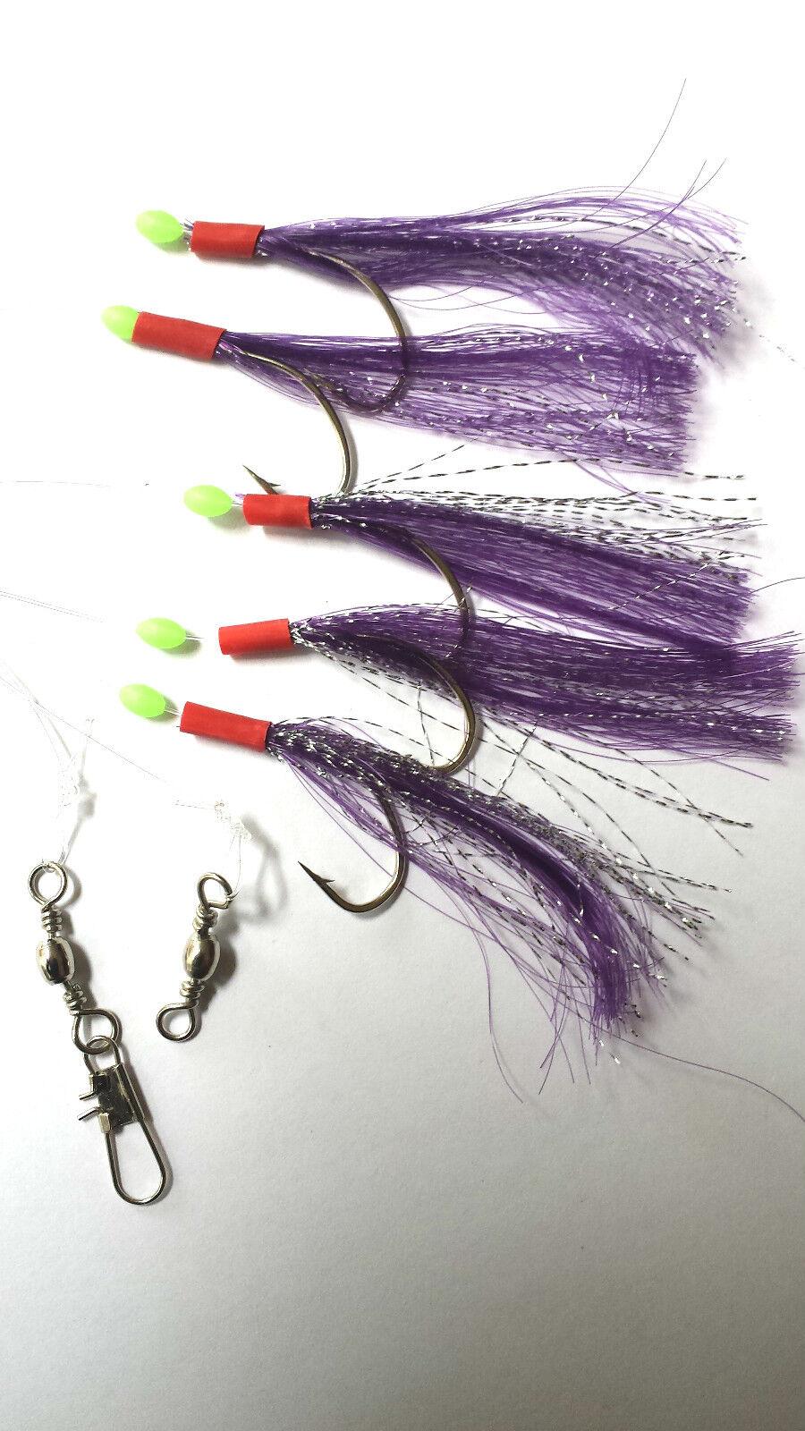 5 Crochets Violet Flasheur Ligne (5 Paquets) /Goberge/Bateau/ Maquereau/Bass /Goberge/Bateau/ Paquets) 83e84f