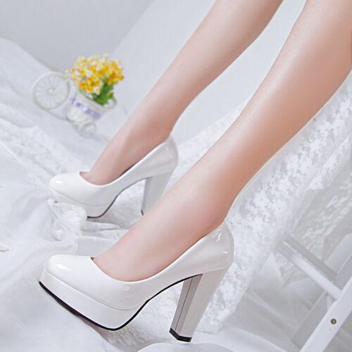 Details about  /Women Pumps Platform Drag Queen Black High Heels Shoes Patent Leather Form Work