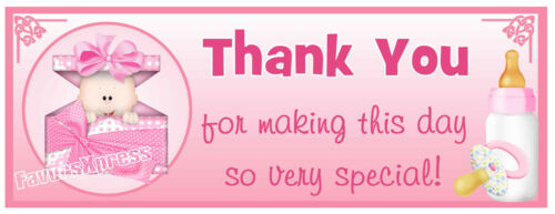 30 PINK BABY PACKAGE BABY SHOWER THANK YOU STICKERS LABELS PINK GIRLS