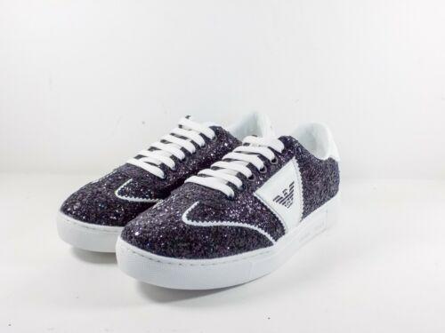 4d9b63ed4fc Black Coll Emporio femmes Armani pour 2019 Glitter chaussures de e  chaussures Sneaker P wwH6YqB