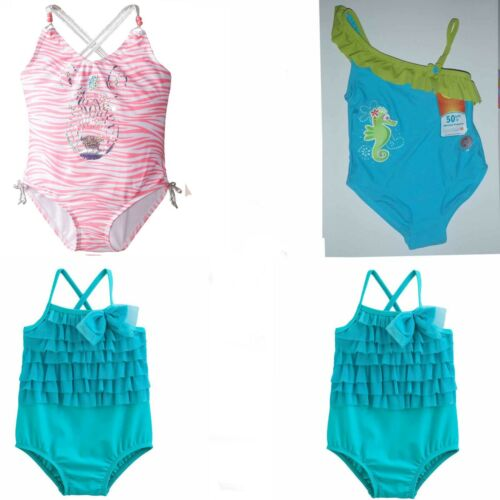 Girl 1 Piece Swimsuit Tulle Ruffle,Seahorse,Sparkly Zebra 12 18 24 2T Mos NWT