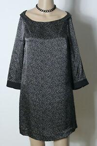 ZARA-Kleid-Gr-S-schwarz-beige-A-Linie-Kleid-Tunika-kurz-Leo-Look-aus-100-Seide