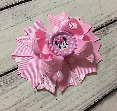 Handmade Light Pink Minnie Mouse Boutique Stacked Hair Bows