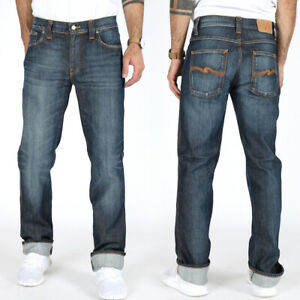 Nudie-Herren-Regular-Slim-Straight-Fit-Stretch-Jeans-Hose-Slim-Jim-Cold-Denim
