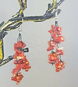 "*Freedom Tree"" Red  Coral Gemstone Grape  Earrings Hand Made Drop /Dangle"
