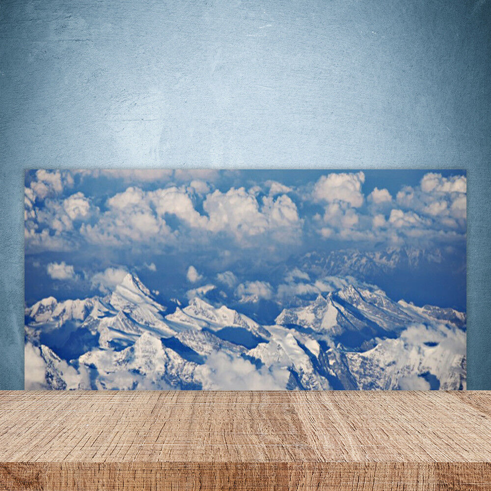 Vidrio Templado Cocina salpicaduras 100x50 las nubes paisaje de montaña