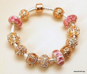 Details About Authentic Pandora Rose Gold Bracelet W Charms Infinite Shine