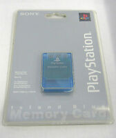 Official Sony Playstation 1 (psone) Clear Island Blue Memory Card Factory Sealed