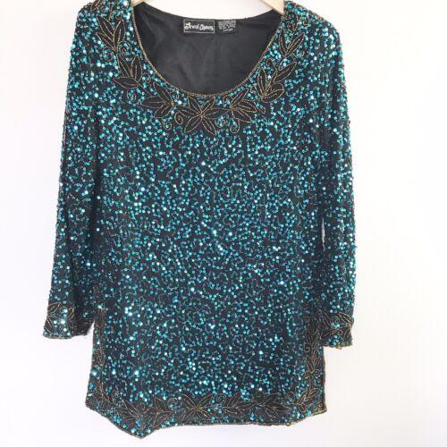VTG Jewel Queen 100% Pure Silk Blue Sequin Disco … - image 1