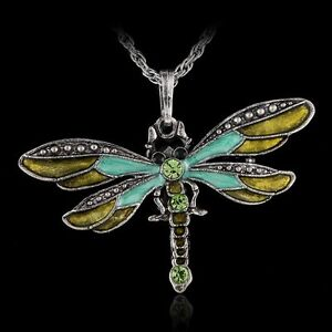 Handmade-Dragonfly-Charms-Necklace-Chain-Crystal-Rhinestone-Wing-Pendant-Women