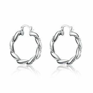 UK-925-Silver-Plt-Small-Polished-Thick-Twisted-Hoop-Earrings-Round-Smooth-35Mm