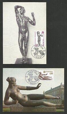 AnpassungsfäHig Europa Cept 1974 Skulpturen Frankreich Mi.nr. 1869-70 , Maximum Karten