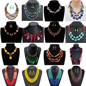 Bohemian-Women-Tassels-Beads-Pendant-Choker-Bib-Necklace-Chunk-Statement-Jewelry